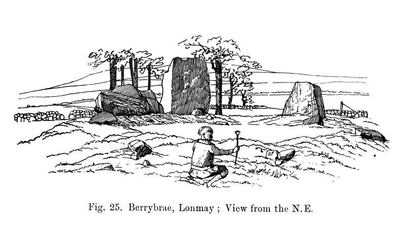 Sketch of view of recumbent stone circle from NE.