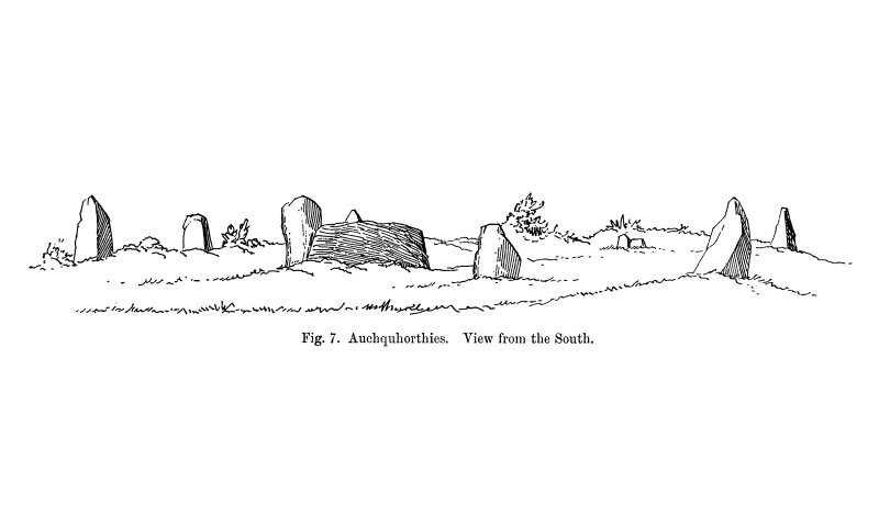 Sketch of recumbent stone circle, viewed from S.