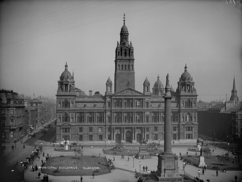 General view from W including George Square. Titled: '175  Municipal Buildings, Glasgow.'