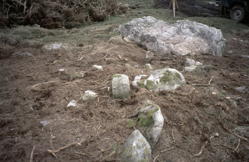 Copy of slide (H 93796cs) of recumbent stone circle cleared of vegetation.