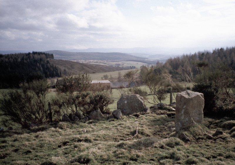Copy of colour slide (H 93797cs) showing view to SW from recumbent stone circle.