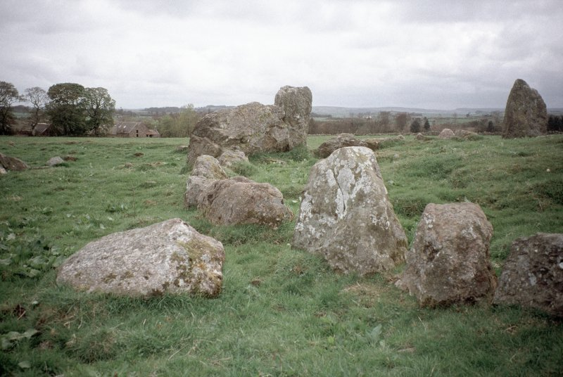 Copy of colour slide (H 93800) showing E arc of recumbent stone circle.