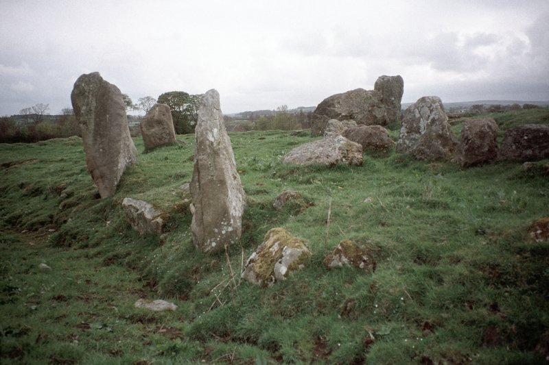 Copy of colour slide (H 93801) showing SE arc of recumbent stone circle.