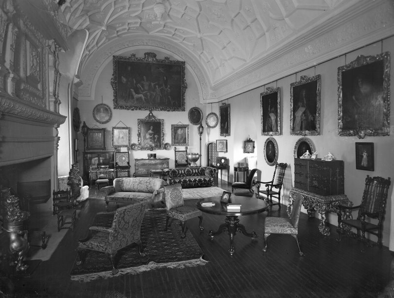 View of drawing room of Glamis Castle, Angus.
