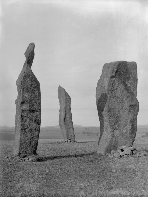 View of standing stones at Lundin Links, Fife.