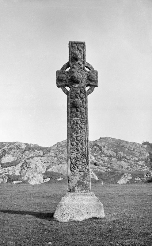 Iona, St Martin's Cross. General view of East face.