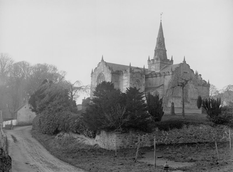 View of Largo Parish Church and churchyard from south east.
