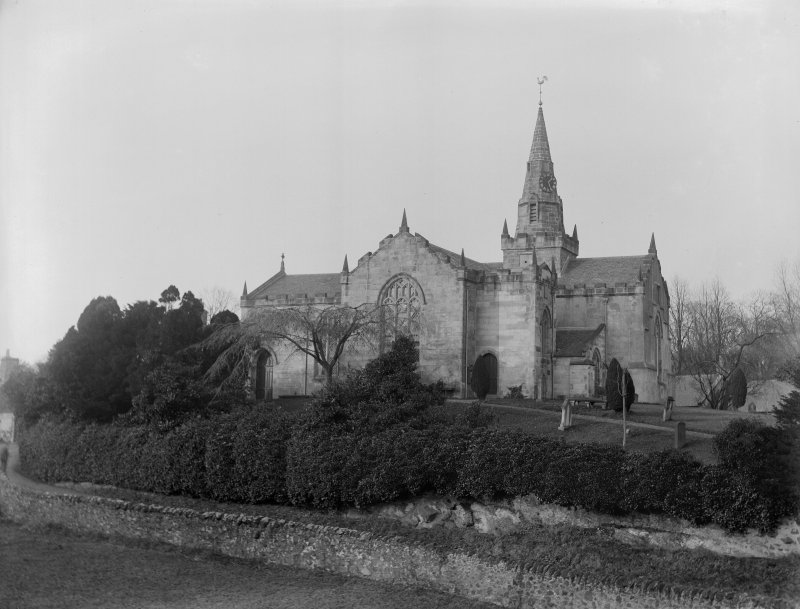 View of Largo Parish Church and churchyard from south.