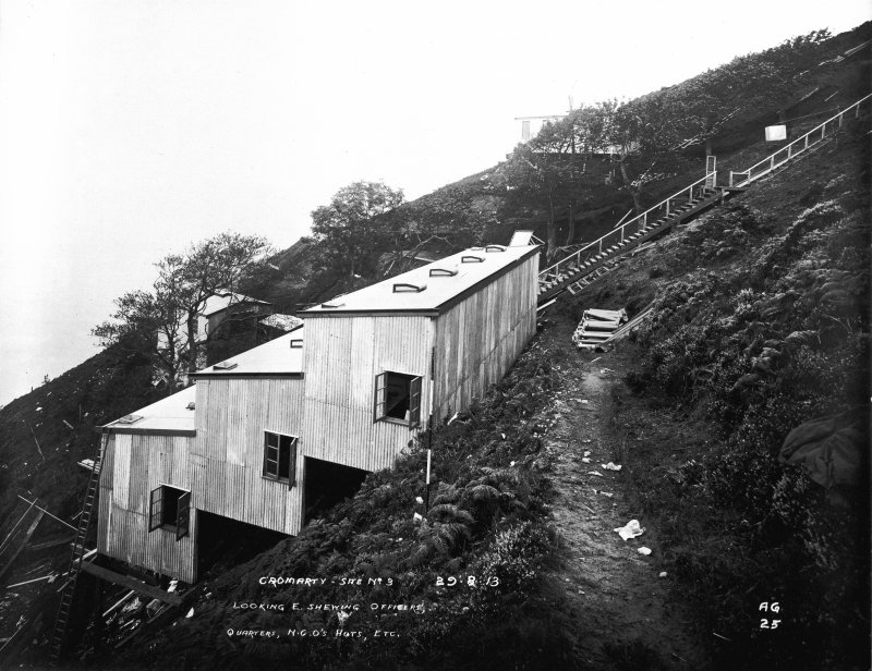 View looking E on the South Sutor, Cromarty Firth, showing Officer's quarters, NCO's huts, store and cook house for QF battery during construction phase.