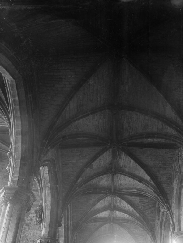 Interior-general view of vaulted roof in North aisle of Nave