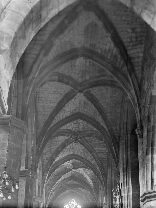 Interior-general view of vault of South Nave aisle from East