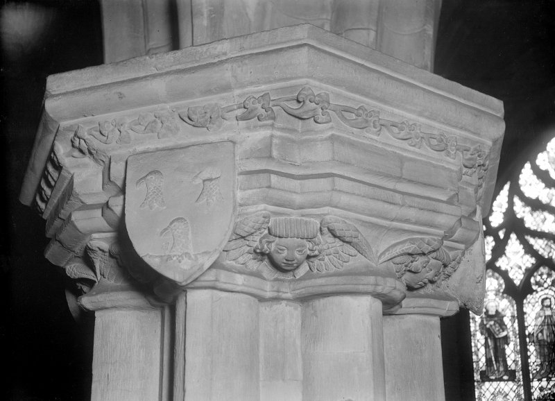Interior-detail of capital in side chapel of South Transept