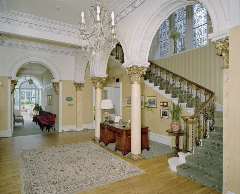 Interior. Ground floor. Main entrance hall with staircase and view to conservatory