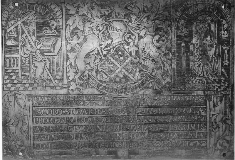 Interior-front of brass tablet on West wall of Moray Aisle