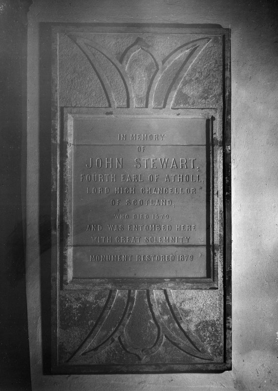 Interior-detail of memorial stone to John Stewart, 4th Earl of Atholl