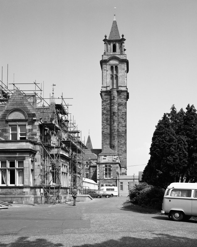 Glasgow, Crookston Road, Leverndale Hospital. General view of tower from South.