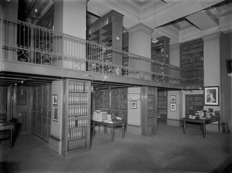 Interior. General view of library showing balcony, University of Edinburgh.