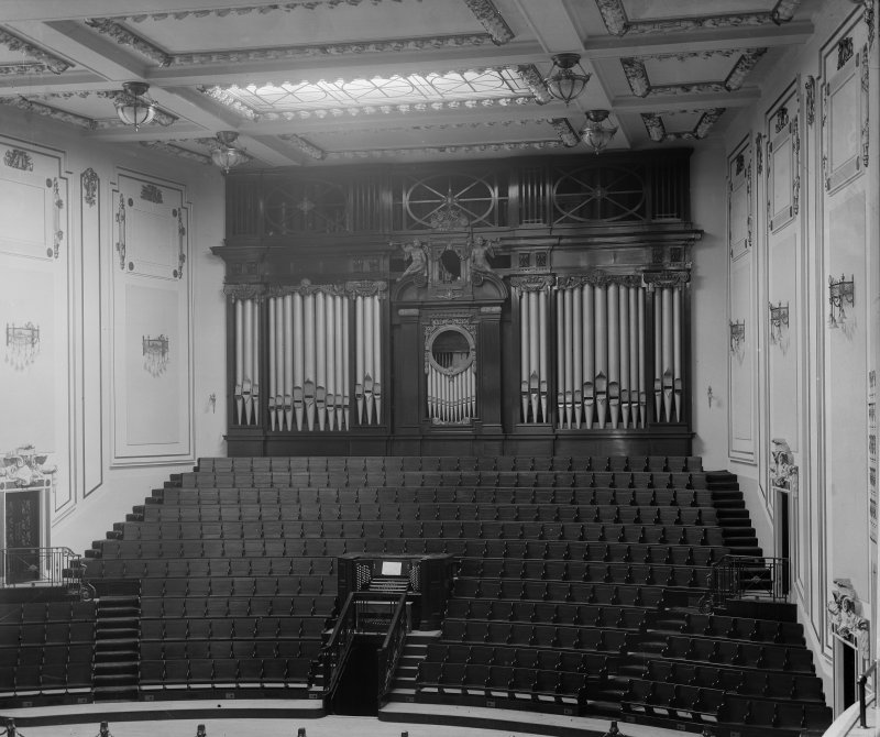 Interior view of proscenium in Usher Hall, showing seats and organ