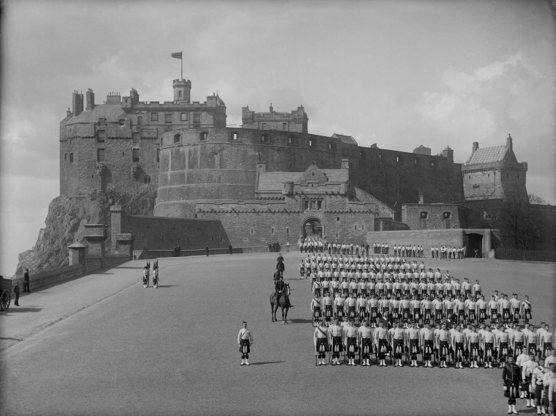 General view of Esplanade from east showing troops under inspection.