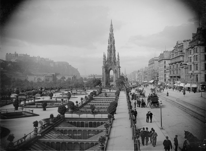 View from Waverley gardens looking west also showing the Castle, National Gallery and Scott Monument, inscr; 'PRINCES STREET & CASTLE. EDINBR'