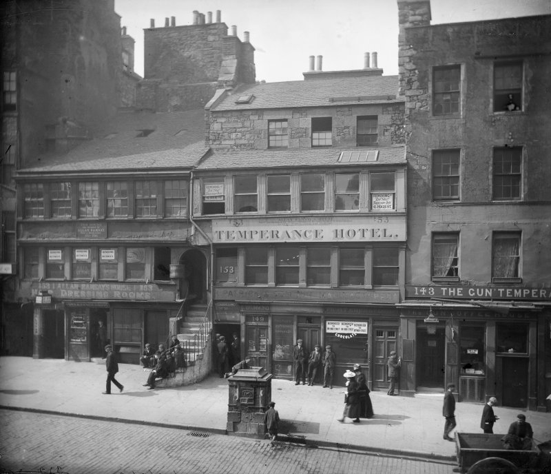 General view of High Street between Canongate and North Bridge, Edinburgh showing no 153 Allan Ramsay's House, The Temperance Hotel, no 143 The Gun'Temperance and The Gun Coffee House.