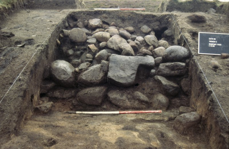 Excavation photographs: Film 7 from the 1995 season at Brown Caterthun. Wall B front face, Trench 5.