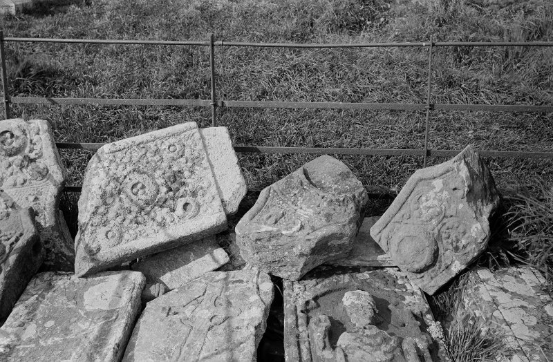Iona, St Mary's Abbey, St John's Cross.  View of fragments.