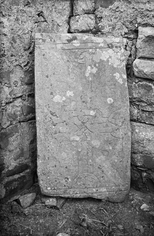 Iona, St Oran's Chapel. View of recumbent cross slab L27.