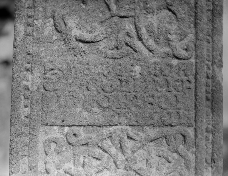 Oronsay Priory, Great Cross. Detail of inscription - Colin, Prior of Oronsay - on West side of cross
