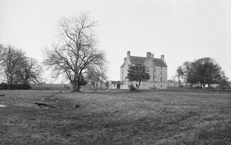 Pitreavie Castle. View of rear of castle prior to renovations and additions in 1885.