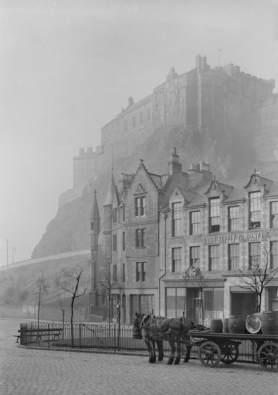 View of Edinburgh Castle from Grassmarket showing the premises of the Dairy Supply Company.