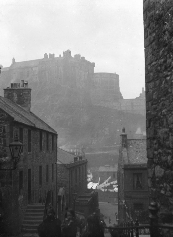 View down Vennel to Grassmarket, with Castle in background