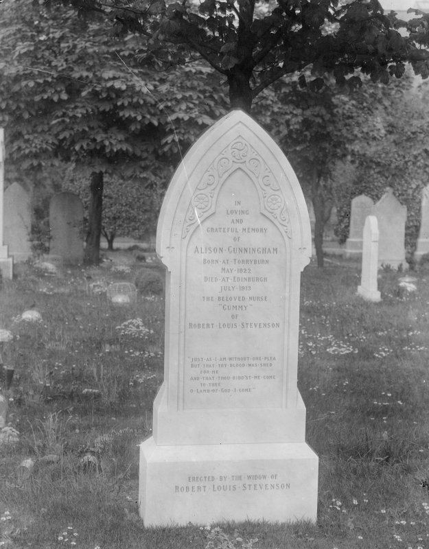 Morningside Cemetery. View of tombstone of Alison Cunningham, Robert Louis Stevenson's nurse.
