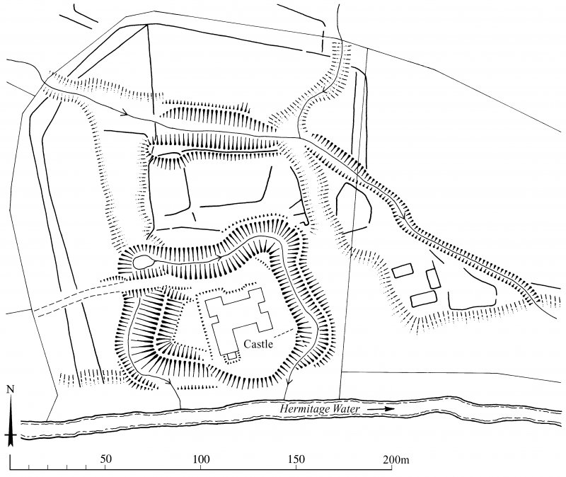 Scanned version of DC49409 - plan of Hermitage Castle and earthworks - with added annotation and scale bar