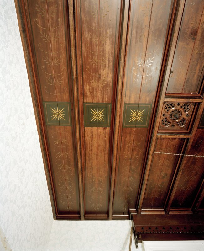 Interior. Detail of panelled and stencilled library ceiling.