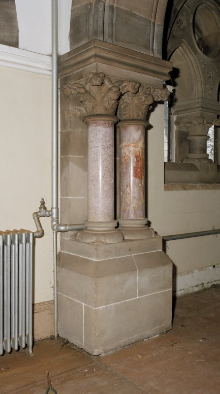 "Interior. Detail of free ""Corinthian"" columns in hall."