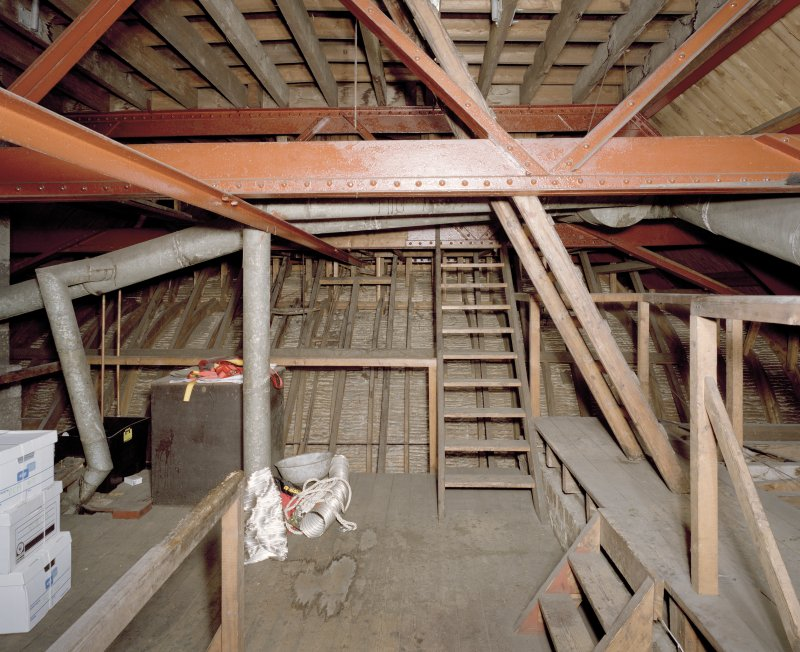 Interior. Attic view of roof structure and mail hall coved ceiling structure