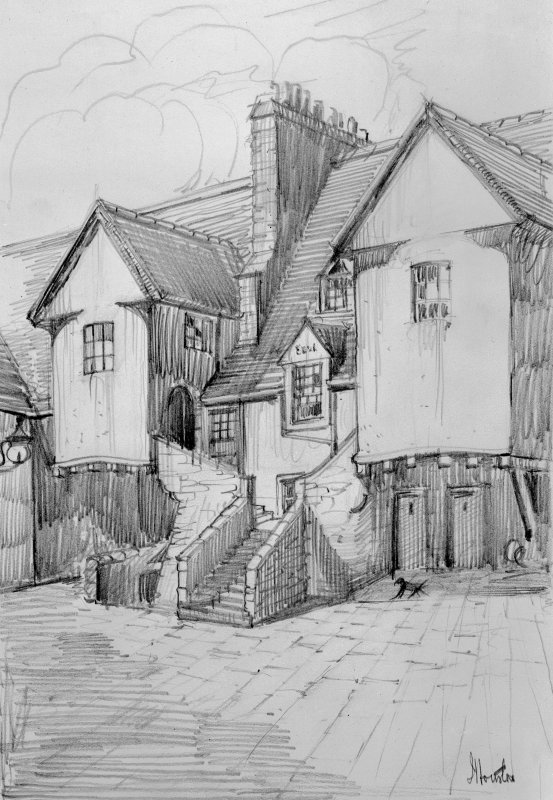 Photographic copy of drawing of White Horse Close, signed: 'J Houston'.