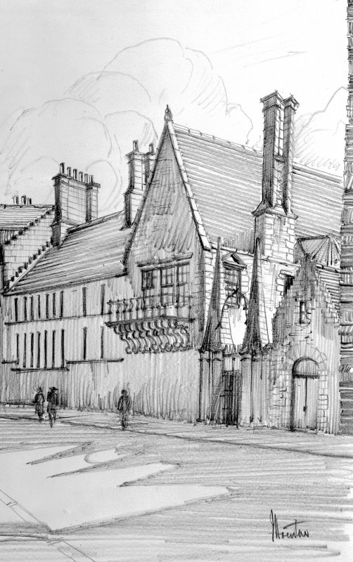 Photographic copy of pencil drawing of Moray House. Signed: 'J Houston'