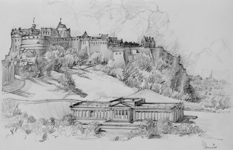 Photographic copy of charcoal sketch by James Houston, showing general view from Calton Prison