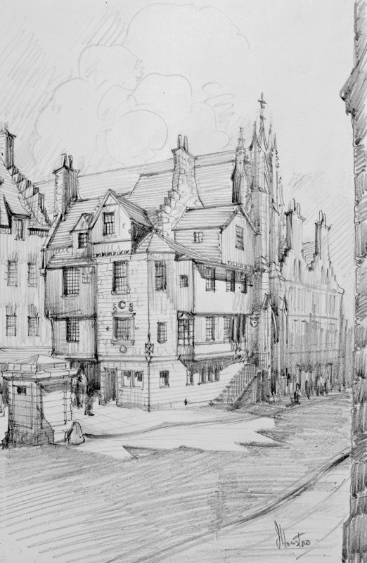 Drawing showing view of John Knox's House, Edinburgh from South West by J Houston.