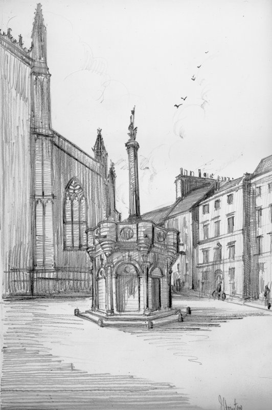 General view of Mercat cross with St Giles in background, Photograph of drawing by J Houston