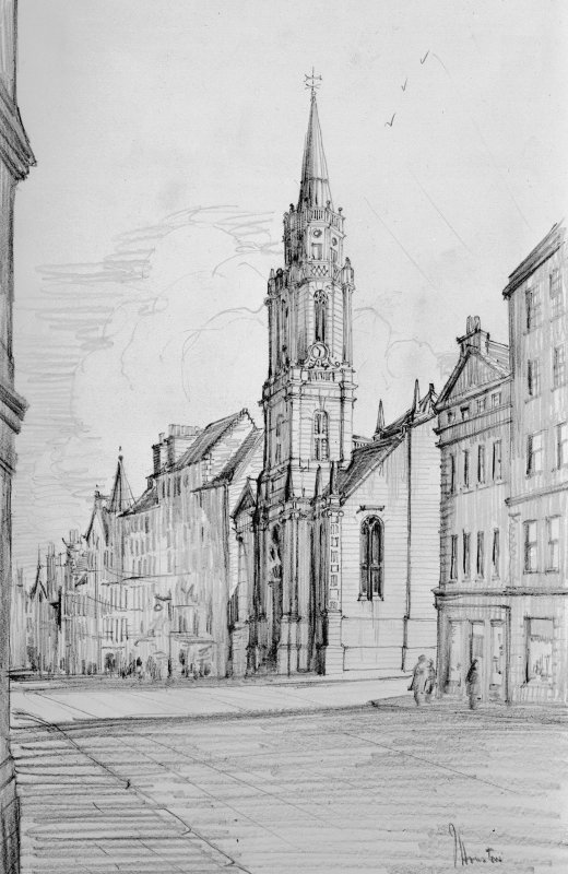 Photograph of drawing by J Houston showing view of Tron Church from West