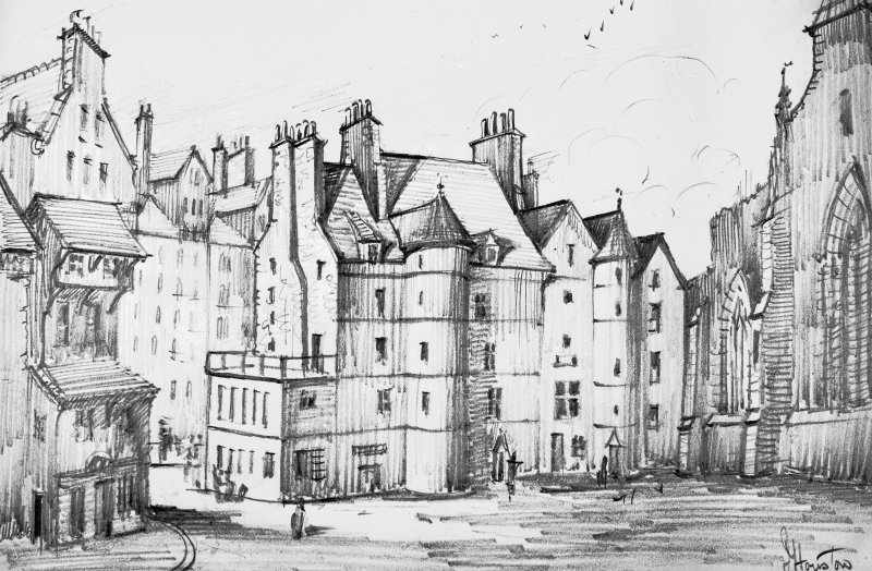 Photograph of drawing showing the Old Tolbooth by J Houston.