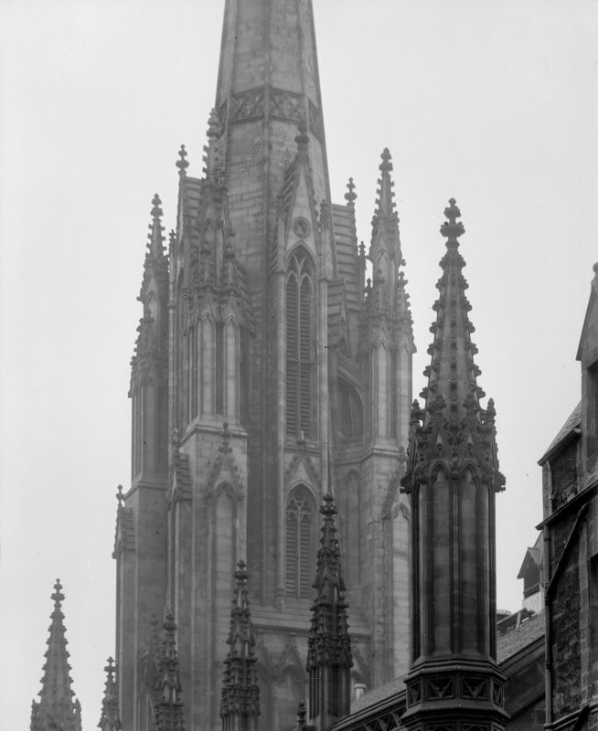 General view of base of spire