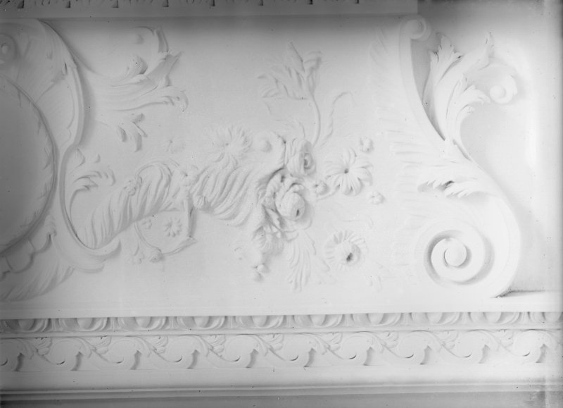 View of drawing room ceiling plasterwork.