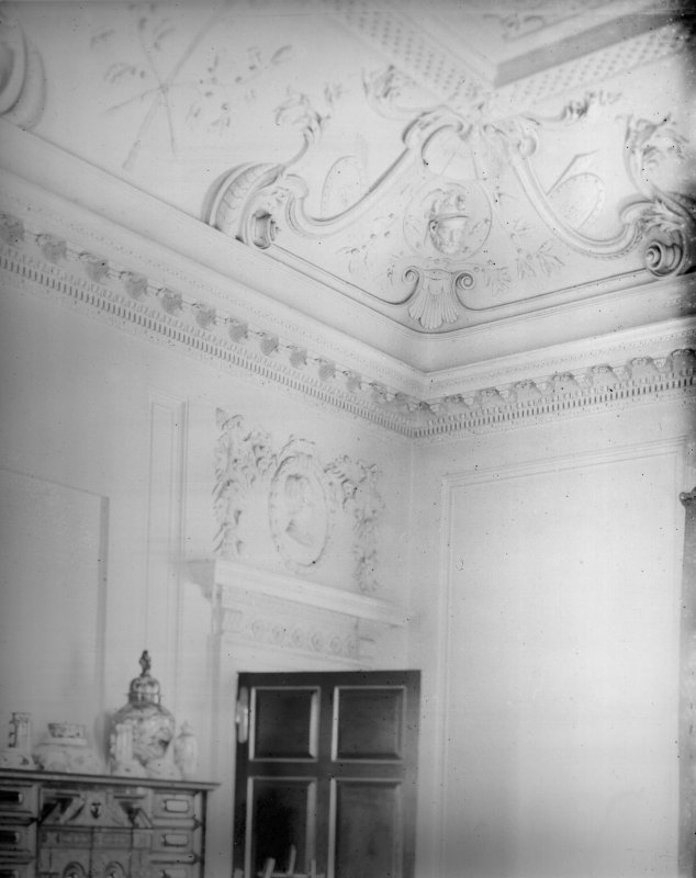 View of plaster panels in the drawing room.
