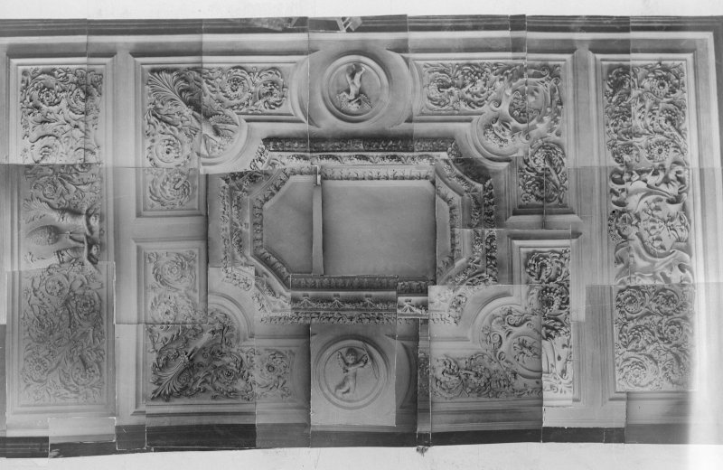 Copy of montage of photographs to show entire ceiling of the Tapestry Room.