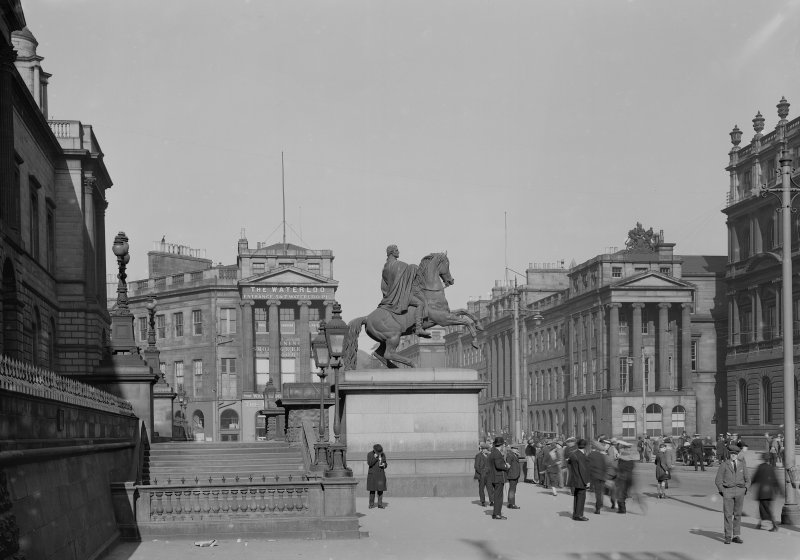 View of Waterloo Place end pavilions with Duke of Wellington Statue in front