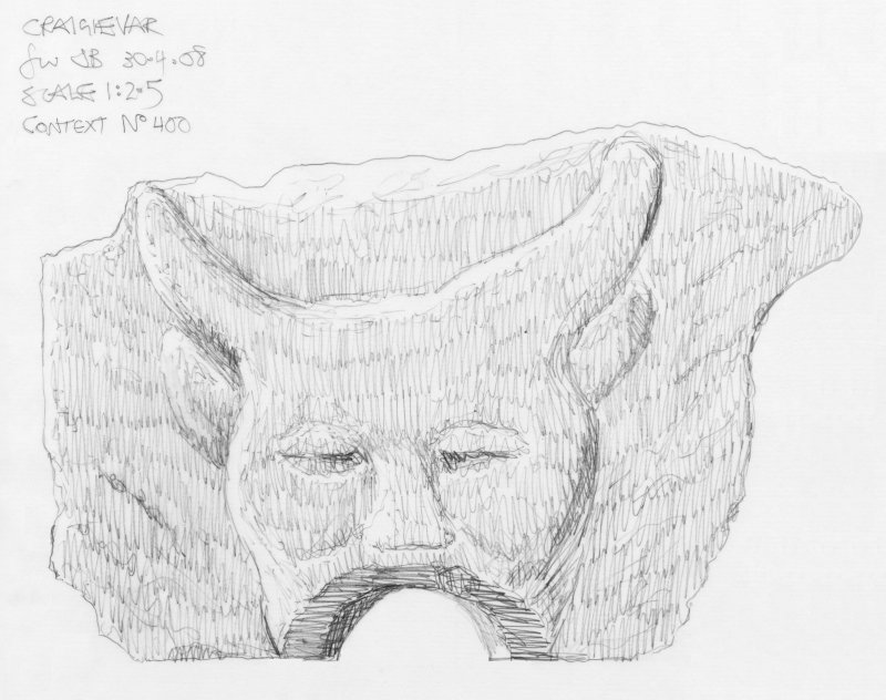 Scanned pencil survey drawing of Grotesque Head no. 400